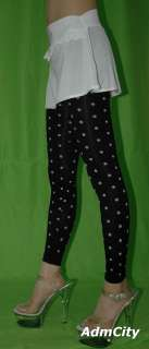 Admcity Seamless leggings footless tights with woven polka dot print
