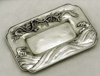 Japanese Sterling Silver Dragon in Crashing Waves Tray Meiji Arthur
