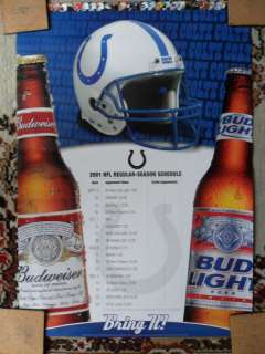 NFL Football 2001 Indianapolis Colts Poster Schedule