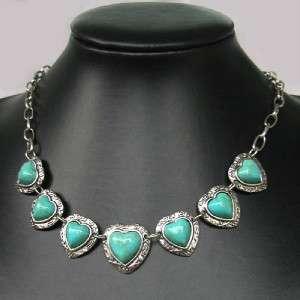 tibetan Heart howlite TURQUOISE Beads NECKLACE