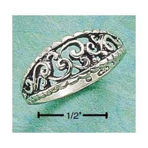 STERLING SILVER ANTIQUED OPEN LOOPS & CURVES RING Jewelry