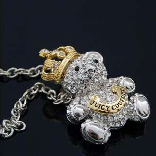 Korean style fashion full crystal crown bear necklace