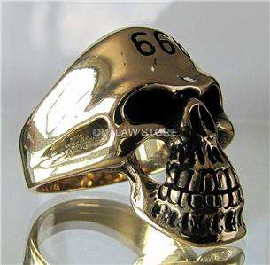 THE DEVIL SKULL BONE SCULL OUTLAW BIKER 666 SOLID BRONZE RING SATAN