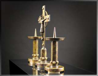1930s French ART DECO BRONZE ALTAR SET Crucifix Standing Cross + 2