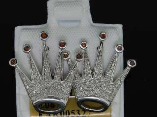 MENS WHITE GOLD .35C DIAMOND KING CROWN STUD EARRINGS