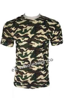 D41 MENS CAMOUFLAGE ARMY CAMO MILITARY T SHIRT / TOP