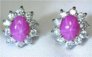 Gold 18k 14k gf 6 Rays Pink Star Sapphire Stone Stud Earrings