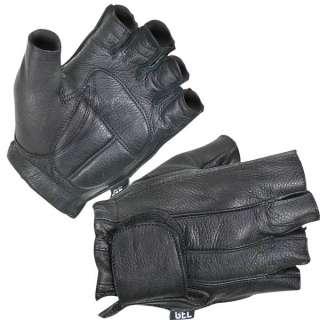 Xelement Mens Fingerless Deerskin Motorcycle Biker Leather Gloves s xl