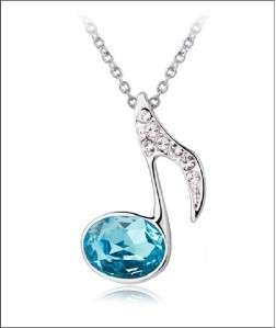 Pretty 18K White Gold GP Swarovski Crystal Necklace S21
