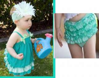 Girl Baby Ruffle Top+Pants+Headband Set S0 3Y New Bloomers Nappy Cover