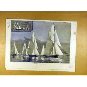 1884 Regatta Clyde Yacht Boat Race Sailing Print Home