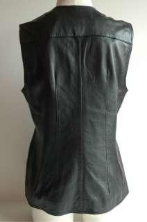 Evan Davies Womens Black Sleeveless Soft Leather Vest ZIP Front, Size