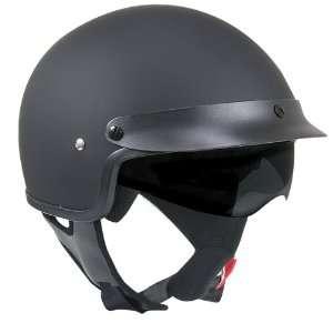 Outlaw V553 Matte Black Dual Visor Motorcycle Half Helmet