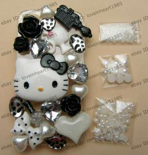 Black Hello Kitty Flatback Scrapbooking DI​Y Phone Case Deco Den Kit