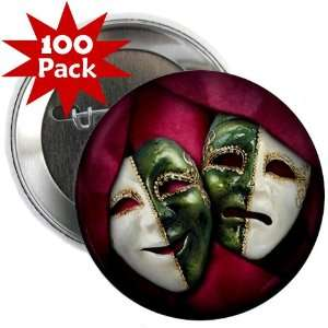 COMEDY TRAGEDY Drama Masks 100 Pack of 2.25 inch Pinback