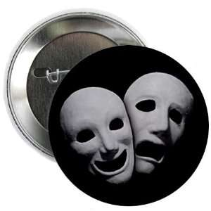 COMEDY TRAGEDY Ghostly Drama Masks on Black 2.25 inch Pinback Button