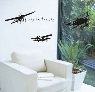 Airplane Art Decor Vinyl Wall Paper Sticker Decal 165