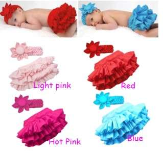 Girl Baby Ruffle Pants 0 24M Bloomers Nappy Cover Skirt Headband