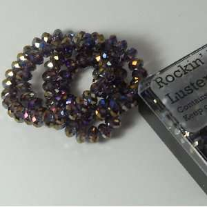 Purple Ab Luster Crystal Glass Faceted Fluted Machine Cut Rondelle