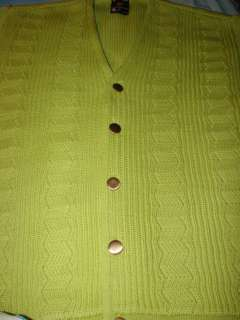 Vtg 60s   70s Lime Green KNIT CARDIGAN SWEATER Sz XL Psychadelic