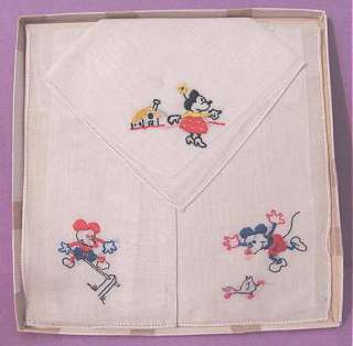 1940s Walt DISNEY MICKEY Minnie MOUSE HANDKERCHIEFS in Original