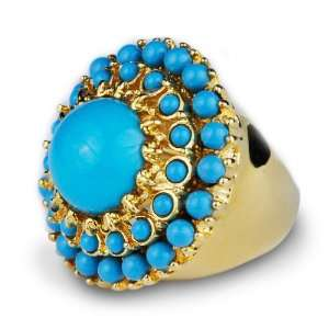 Kenneth Jay Lane Turquoise Round Cabochon Ring Kenneth