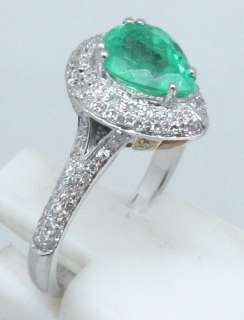 SOLID 14K Multi Tone Gold NATURAL EMERALD DIAMOND RING