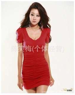 Women V Neck Pleated Red Clubwear Short Sleeve Dress M
