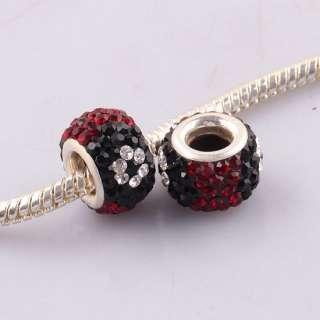 Dark Red Flower Evil Eye Cz Rhinestone Crystal Big Hole Charm Beads