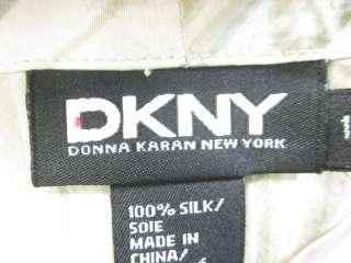 DKNY Beige Striped Dolman Sleeve Silk Blouse Top Sz 10