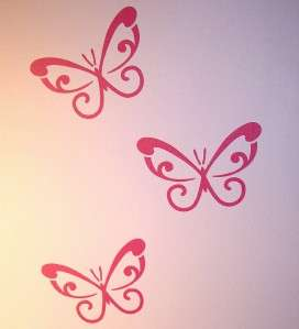 Pink Swirl Butterflies Wall / Car Stickers Removable*