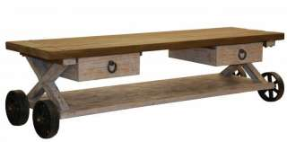 Long 78 Coffee table reclaimed wood and iron 2 drawer