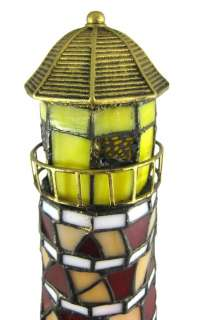 Stunning Stained Glass Lighthouse Accent Table Lamp