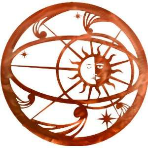 Lazart® 18 Celestial Sun Moon Laser Cut Metal Wall Art, Honey Pinion