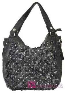 NWT REAL Genuine Leather STUDDED Ruffle FLOWER Shoulder Handbag Purse