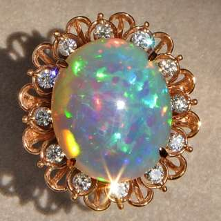 Natural Opal 18K Rose Gold Diamond Exquisite Rarely Seen Ring COL1