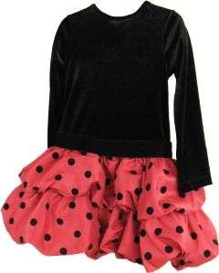 GIRLS~RARE EDITIONS~VALENTINE~BLACK VELVET~RED POLKA DOT PICK UP DRESS