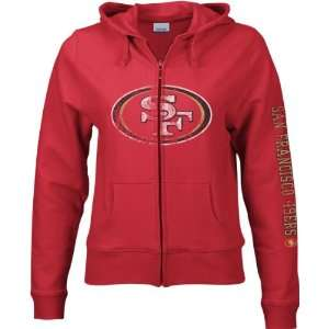 San Francisco 49ers Womens Red Giant Logo Full Zip Hooded