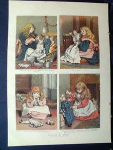 1888 little girl dress up dolls playing house mother