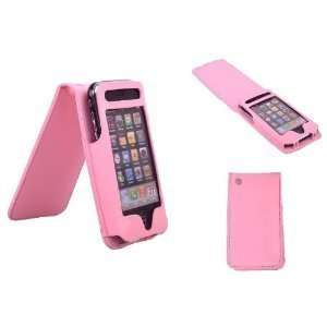 Durable Leather iPhone Case with Magnetic Flip Top PINK