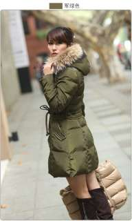 womens 90% duck down big fur winter long coat jacket parka SizeM 2XL