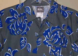 QUIKSILVER GRAY BLUE COTTON HAWAIIAN SHIRT BOYS MEDIUM