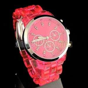 Lady Girls Womens New Crystal Red Quartz Fashion Wrist Watches