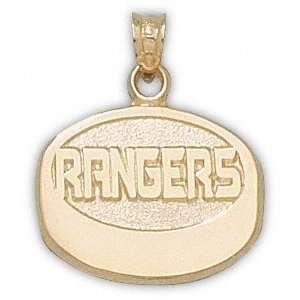 New York Rangers 10K Gold RANGERS Puck Pendant Sports