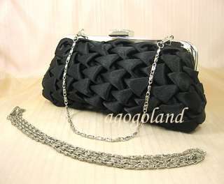 Black Satin Crystal Clasp Evening Handbag Purse Clutch C68130B
