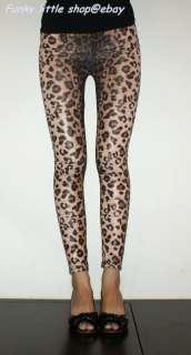 leopard print leggings tight pants punk rock emo retro PT496