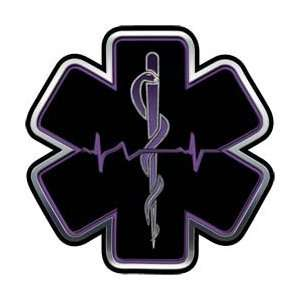 Purple EMT EMS Star Of Life With Heartbeat   6 h