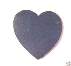 Navy Primitive Wood HEARTS w/ holes, crafts