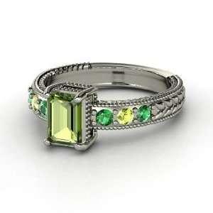 Emerald Isle Ring, Emerald Cut Green Tourmaline 14K White Gold Ring