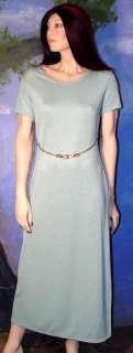 VINTAGE Pale Shimmery GREEN Knit DESIGNER Look Dress 10